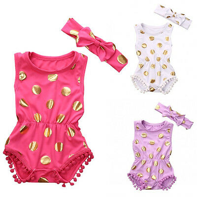 Newborn Baby Girls Polka Dot Bodysuit Romper Jumpsuit Outfits Clothes US Stock