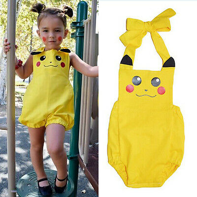 USA Baby Girl Rompers Sunsuit Bodysuit Jumpsuit Pikachu Outfits Costume Cute
