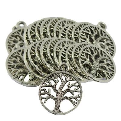 60pcs Antique Silver Tree of Life Round Charms Hollow Pendant Zinc Alloy Lot