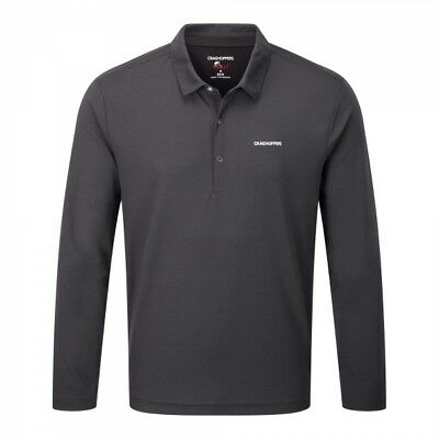 Craghoppers Mens Nosilife Nemla Long Sleeve Sports Hiking Polo Shirt in Black
