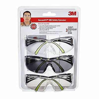 3M Secure-Fit 400 Anti-Fog Eye Protection Glasses, Multi-Pack (3 Pack)