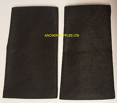 2 Sets x Plain Black Epaulettes Slide On 2 Pairs Supplied (E19)