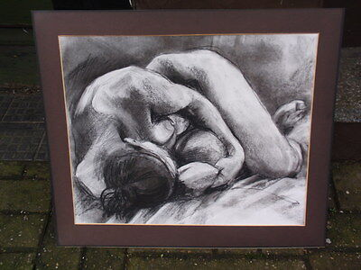 Judith Alder Signed Charcoal Pastels Drawing Nude Woman Laying Down On Paper