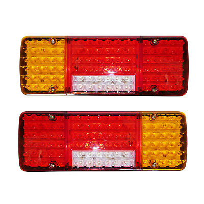 Pair 12V Led Rear Tail Lights Lamp 5 Function Trailer Caravan Truck Lorry 98 Led