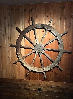 "60"" Authentic 10 Spoke Antique Teak Wood and Brass Nautical Ship Wheel"
