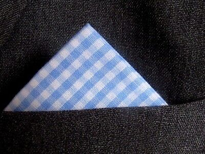 """GINGHAM POCKET SQUARE HANDKERCHIEF  cotton  blue and white  12"""" wide unisex"""