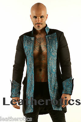 Black Cotton Mens Gothic Steampunk Outfit Vintage Jacket Coat Pirate Top Spgr