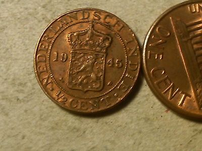 Netherlands East Indies 1945 1/2 Cent . WWII period coin