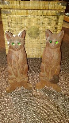 Art Deco Cat w/ green eyes Andirons Tenn Chrome Plate Company Signed Originals