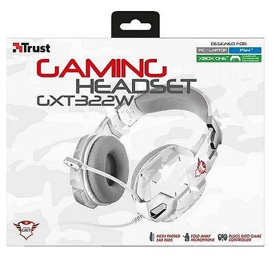CUFFIE TRUST GXT 322W Gaming Headset White Camouflage PC PS4 XBOX ONE