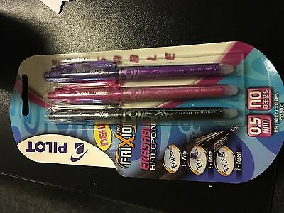 3 x Pilot FriXion POINT Erasable Rollerball PENS 0.5mm Tip Black/Pink/Violet