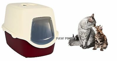 Trixie Hooded Cat  Litter Tray Loo Less Mess Toilet 40X40X56 Cm Flap Door 40273