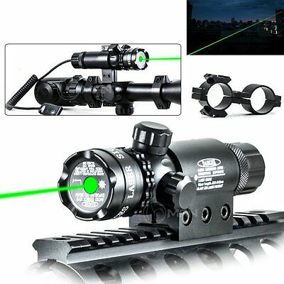 Tactical Green Dot Laser Sight Rifle Gun Scope Rail+Remote Switch For Hunting