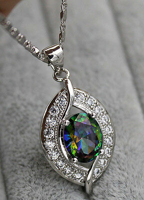 18K White Gold Filled- 8*10MM MYSTICAL Topaz Zircon Hollow Leaf Pendant Necklace