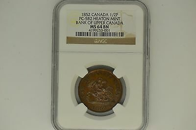 Canada: 1852 Half Penny- Bank of Upper Canada- NGC MS-64BN.  Gorgeous