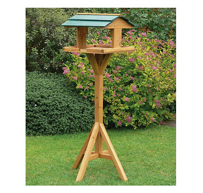 Traditional Bird Feeder Table Wild Birds House Feeding Station Garden Free Stand
