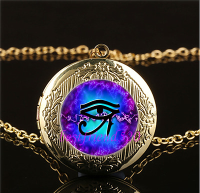 Eye of Horus Photo Cabochon Glass Gold Plating Locket Pendant Necklace