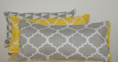 Yellow Grey Cushion Covers Oblong Rectangle Geometric Triangle Moroccan Bolster~