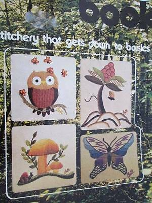 The Crewel Book-Becky Bell-11 Embroidery Projects-Butterfly/Owl/Mushrooms/Flower