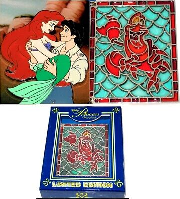 LE JUMBO Disney Pin✿Stained Glass Storybook Little Mermaid Ariel Eric Sebastian