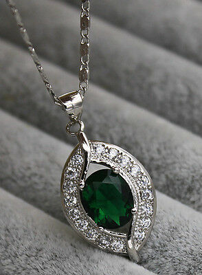 18K White Gold Filled - 8*10MM Peridot Hollow Topaz Gems Leaf Pendant Necklace