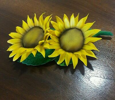 Capodimonte Yellow Sunflowers With Green Leaves Figurine Porcelain by FABAR