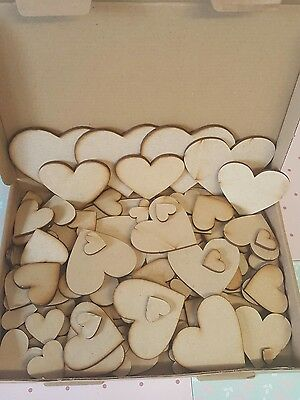 Mdf heart shapes bargain box full ! Mixture of sizes 3mm thick Pack Bundle Lazer
