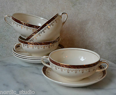SET 4: Alfred Meakin ROYALTY Two Handled Cream Soup Cups, Maroon 18 k Gold Trim