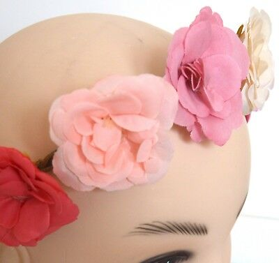 NEW Natural cord 5 fabric flower garland browband headband festivals prom