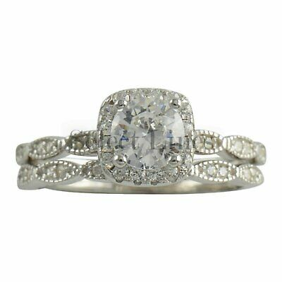 Sterling Silver Double Ring CZ Engagement Wedding Band Set 925