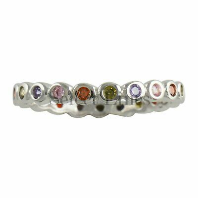 Sterling Silver Multi Color CZ Eternity Womens Band 925 Ladies Ring