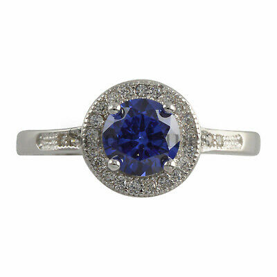 Sterling Silver Halo Style Blue CZ Promise Ring 925 Womens Band