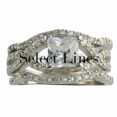 Sterling Silver Princess Cut CZ 3 Ring 925 Womens Bridal Engagement Set