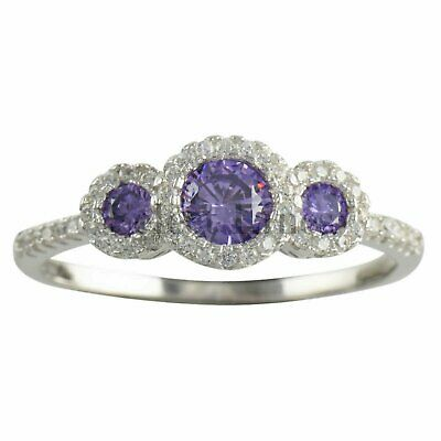 Sterling Silver Fancy Purple & White CZ Womens Band 925 Ladies Ring