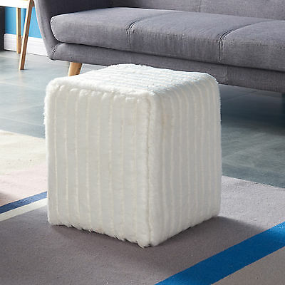 """Rhea"" Collection Ottoman Footstool in Grey or White Faux Fur by !nspire 402-200"