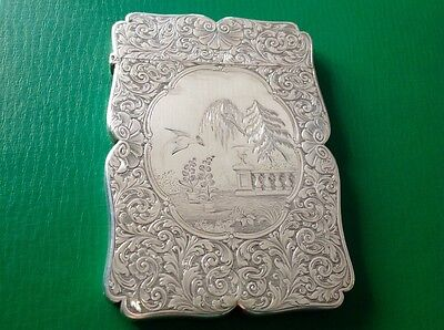 Nathaniel Mills Engraved Scene Antique English Sterling Silver Card Case 1842