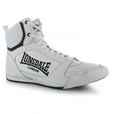 Lonsdale Bout Leather Boxing Boots Kids Mens Shoes - White