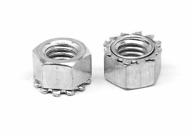 """1/4""""-20 Coarse Thread KEPS Nut / Star Nut with External Tooth Lockwasher Steel"""
