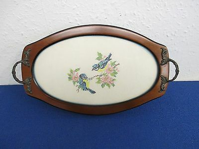 Decorative Small Tray, Cross Stitch Birds & Flowers Inlaid in Base - Handmade