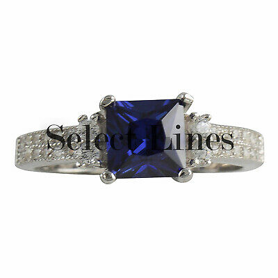 Sterling Silver Princess Cut Blue CZ Womens Band 925 Ladies Ring
