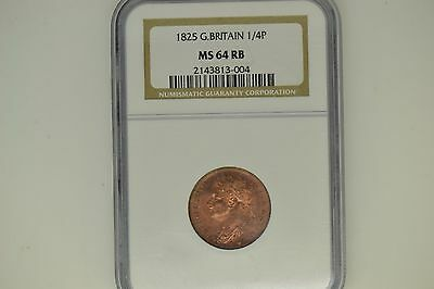Great Britain: 1825 Farthing- NGC MS-64 RB.  Gorgeous!