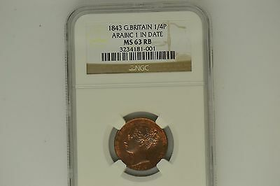 Great Britain: 1843 Farthing- NGC MS-63 RB.  Arabic 1 in Date.   Lovely!