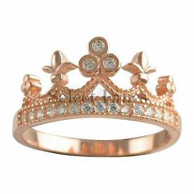 Sterling Silver Rose Gold Princess Crown CZ Band 925 Womens Ring