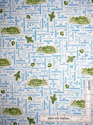 US National Parks Name State Motif Toss White Cotton Fabric QT24403-Z Yard