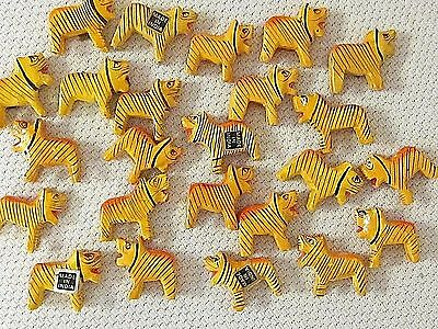 24 Vtg Tigers Cat Beads Animal 3-D Wood Hand Painted Jewelry Findings Lot Crafts
