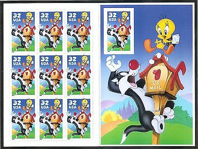 Sylvester and Tweety Full Pane of 10 32 Cent Postage Stamps