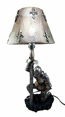 The Accolade Medieval Kneeling Knight Suit of Armor Side Table Lamp Figurine