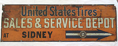 United States Tires - Vintage Tin Tacker Sign Sidney - Sales Service Advertising