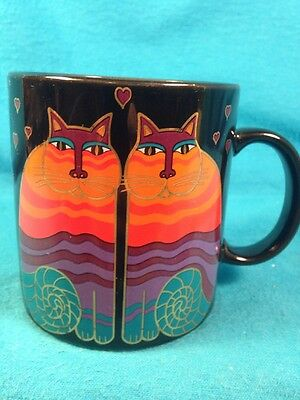 Laurel Burch Rainbow Cats 14 oz Mug Black Colorful Cats Ceramic Made in Japan