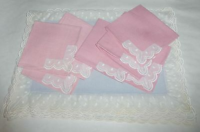 Vintage 1920s Maurice Rothschild Baby Blue & Pink ~ 8 Placemats and Napkins